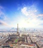 Luchtmening van de horizon van Parijs en de toren van Eiffel, Frankrijk Stock Foto