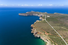 Luchtmening van de Kaap Heilige Vincent & x28; Cabo DE Sao Vincente& x29; , in Sagres Royalty-vrije Stock Fotografie