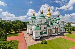 Luchtmening van de kathedraal van Sofia - één van de oudste gebouwen in Kiev Stock Foto's