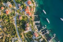 Luchtmening van de kustlijn van Kroatië Rabeiland Royalty-vrije Stock Foto
