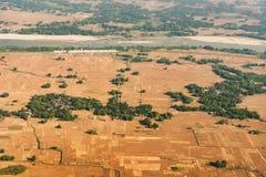 Luchtmening van de landbouwland van Bangladesh Stock Afbeeldingen