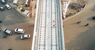Luchtmening van de Lichte bouw van de Spoordoorgang stock footage