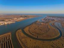 Luchtmening van de mond de rivier van Guadiana Royalty-vrije Stock Afbeelding