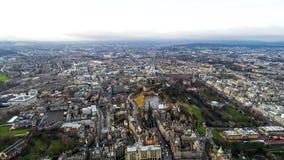Luchtmening van de Oriëntatiepunten van Edinburgh in Schotland het UK Stock Afbeeldingen