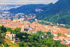Luchtmening van de Oude Stad, Brasov Stock Foto