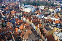 Luchtmening van de oude stad in Brugge, België royalty-vrije stock fotografie