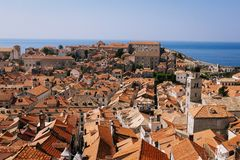 Luchtmening van de oude stad van Dubrovnik, Kroatië royalty-vrije stock afbeeldingen