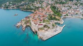 Luchtmening van de oude stad Ulcinj royalty-vrije stock foto's