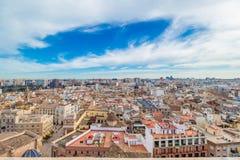 Luchtmening van de oude stad in Valencia Royalty-vrije Stock Foto's