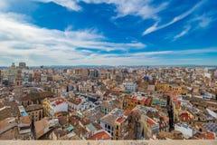 Luchtmening van de oude stad in Valencia Stock Fotografie