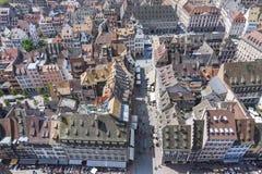 Luchtmening van de oude stad van Straatsburg, de Elzas, Frankrijk Stock Foto's
