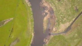 Luchtmening van de rivier stock videobeelden