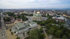 Luchtmening van de St Alexander Nevsky kathedraal en het Parlement, Sofia, Bulgarije Stock Fotografie