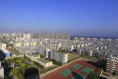 Luchtmening van de stad stock afbeelding