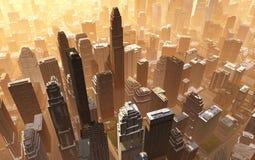 Luchtmening van de stad stock foto's