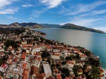 Luchtmening van de Stad van Herceg Novi in Montenegro stock afbeelding