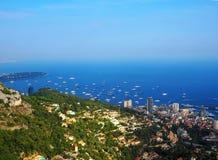 Luchtmening van de stad van Monaco Monte Carlo in Franse Riviera, azuurblauwe kust Royalty-vrije Stock Foto