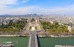 Luchtmening van de stad van Parijs en Zegenrivier van de Toren van Eiffel frankrijk April 2019 royalty-vrije stock afbeeldingen