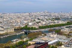 Luchtmening van de stad van Parijs en Zegenrivier van de Toren van Eiffel frankrijk April 2019 stock foto's