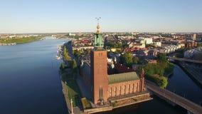 Luchtmening van de stad van Stockholm stock videobeelden