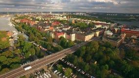 Luchtmening van de stad van Stockholm stock video