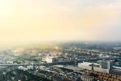 Luchtmening van de stad van Bangkok, toegepaste schuine stand-verschuiving onduidelijk beeld en kleurenfilter Royalty-vrije Stock Foto
