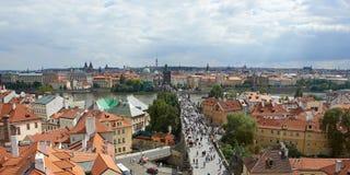 Luchtmening van de stad van Praag Stock Foto's