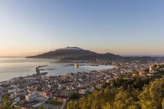 Luchtmening van de stad van Zakynthos, het kapitaal van het Eiland Zakynthos royalty-vrije stock foto's