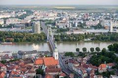 Luchtmening van de stadscentrum van Bratislava, Slowakije Royalty-vrije Stock Foto's