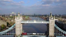 Luchtmening van de Torenbrug van Londen ` s stock footage