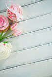 Luchtmening van de Voorlichtings roze linten van Borstkanker op cupcakes met tulpen Royalty-vrije Stock Foto