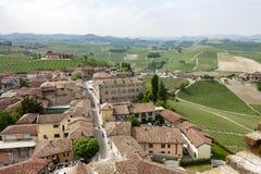 Luchtmening van de wijngaarden van Barbaresco, Piemonte stock afbeeldingen
