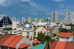 Luchtmening van de woondistricten van Singapore Stock Foto's