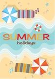 Luchtmening van de zomerstrand in vlakke ontwerpstijl zeester en zomer, het toerisme van de ontspanningszomer Royalty-vrije Stock Afbeelding