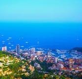 Luchtmening van dorpsla Turbie aan Prinsdom Monaco, Monte Carlo Royalty-vrije Stock Afbeelding