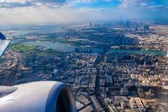 Luchtmening van Doubai van vliegtuig royalty-vrije stock afbeeldingen
