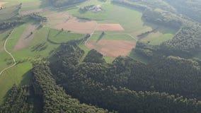 Luchtmening van een ballonrit, zwart bos stock footage
