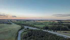 Luchtmening van een Duitse autobahn stock afbeelding
