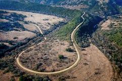 Luchtmening van een landweg stock afbeelding