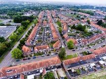Luchtmening van familiehuizen van Nederlandse stad Royalty-vrije Stock Afbeeldingen