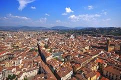 Luchtmening van Florence vanaf bovenkant van IL Duomo Di Firenze stock afbeeldingen