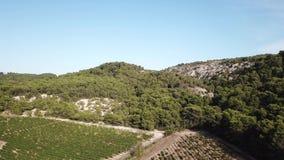Luchtmening van Franse wijngaard in Aude, Frankrijk stock footage
