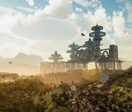 Luchtmening van Futuristische Stad met het vliegen spaceships Royalty-vrije Stock Afbeeldingen