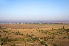 Luchtmening van gebieden en rivier stock afbeelding