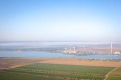 Luchtmening van gebieden en rivier royalty-vrije stock foto