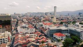 Luchtmening van Georgetown Penang, Maleisië stock videobeelden