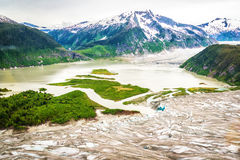 Luchtmening van gletsjer in Alaska Royalty-vrije Stock Afbeeldingen
