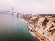 Luchtmening van Golden gate bridge in San Francisco stock afbeeldingen
