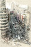 Luchtmening van Gran via in Madrid stock illustratie