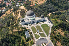 Luchtmening van Griffith Observatory in Los Angeles Stock Foto